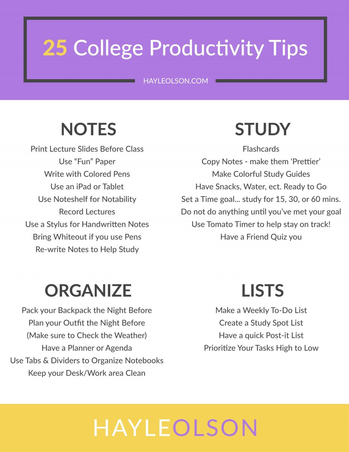 25 College Productivity Tips | College Tips | Hayle Olson | www.haylesantella.com