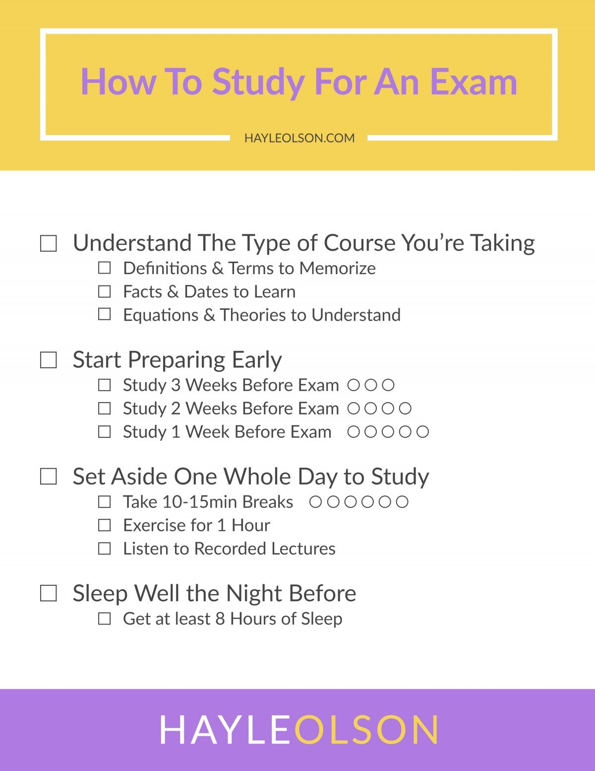 How to Study For An Exam | College Tips | Hayle Olson | www.haylesantella.com