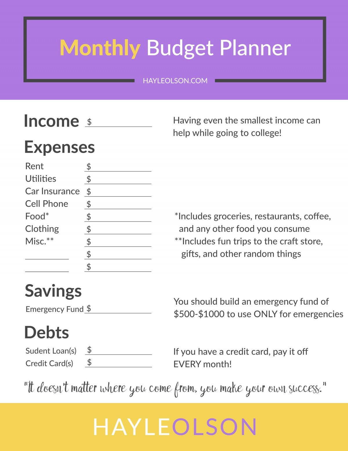 How To Make and Save Money in College + FREE Budget Planner | College Tips | hayle santella | www.haylesantella.com